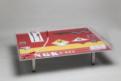 Peter Klasen NGK Table Coffee Table Artist's Design Table in Plexiglas Red Print