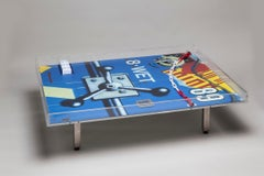 Peter Klasen WET Table Coffee Table Artist's Design Table in Plexiglas, Blue
