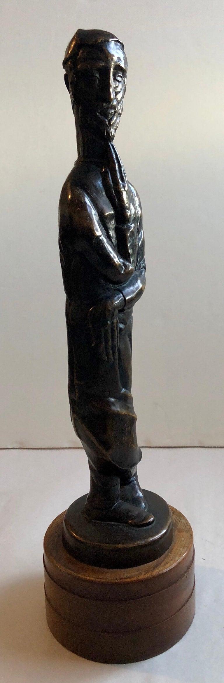 Art Deco Expressionist Bronze Judaica Rabbi Sculpture Los Angeles Modernist For Sale 8