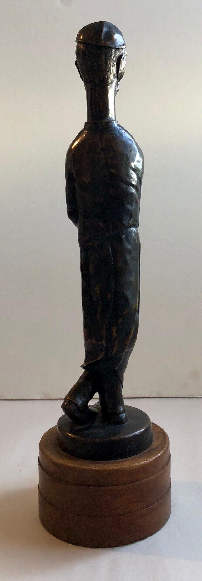 Art Deco Expressionist Bronze Judaica Rabbi Sculpture Los Angeles Modernist For Sale 9