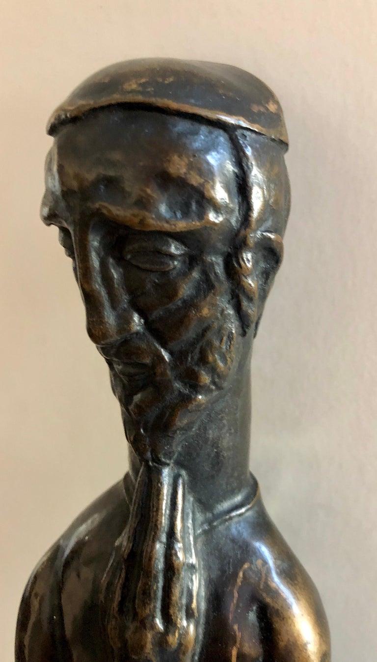 Art Deco Expressionist Bronze Judaica Rabbi Sculpture Los Angeles Modernist For Sale 11