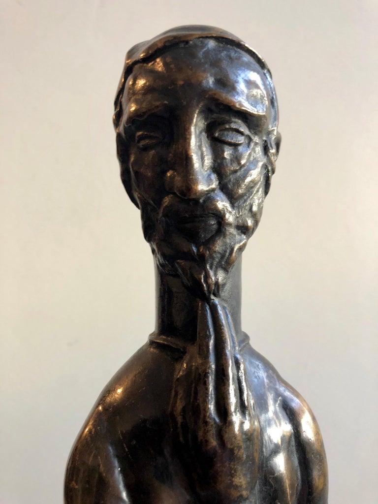 Art Deco Expressionist Bronze Judaica Rabbi Sculpture Los Angeles Modernist - Brown Still-Life Sculpture by Peter Krasnow