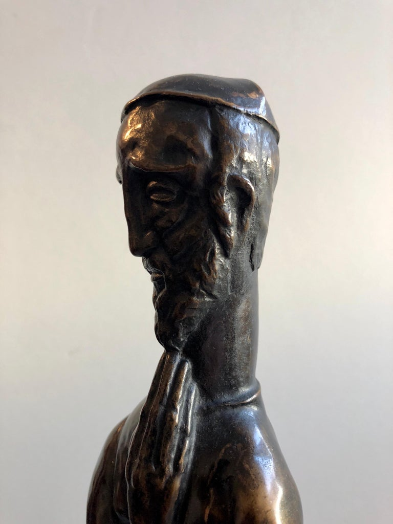 Bronze Jewish Rabbi. Original Patina. Art-deco wood carved base. It is signed with initials P.K. and marked