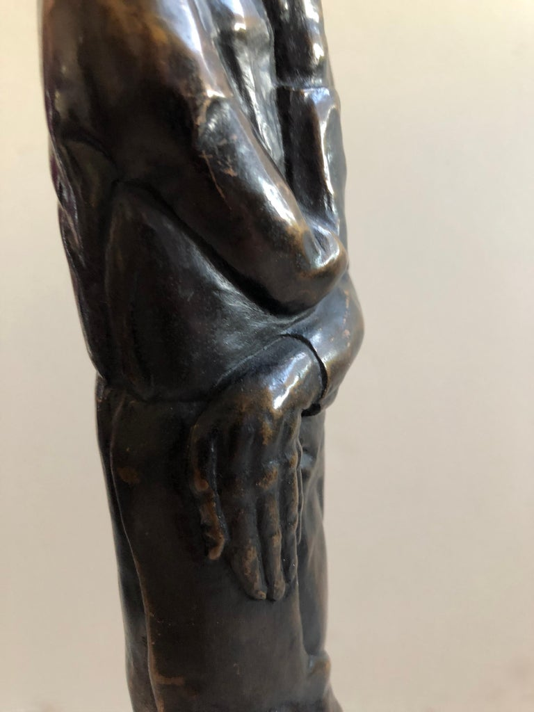 Art Deco Expressionist Bronze Judaica Rabbi Sculpture Los Angeles Modernist For Sale 2