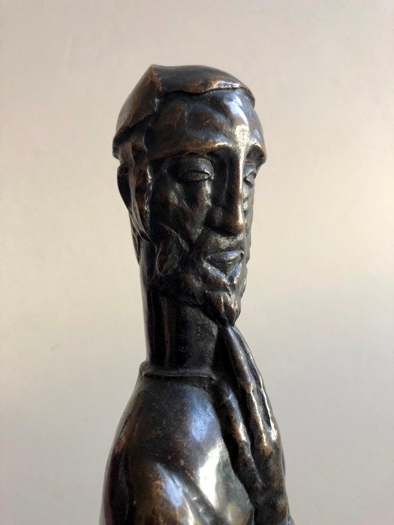 Art Deco Expressionist Bronze Judaica Rabbi Sculpture Los Angeles Modernist For Sale 3