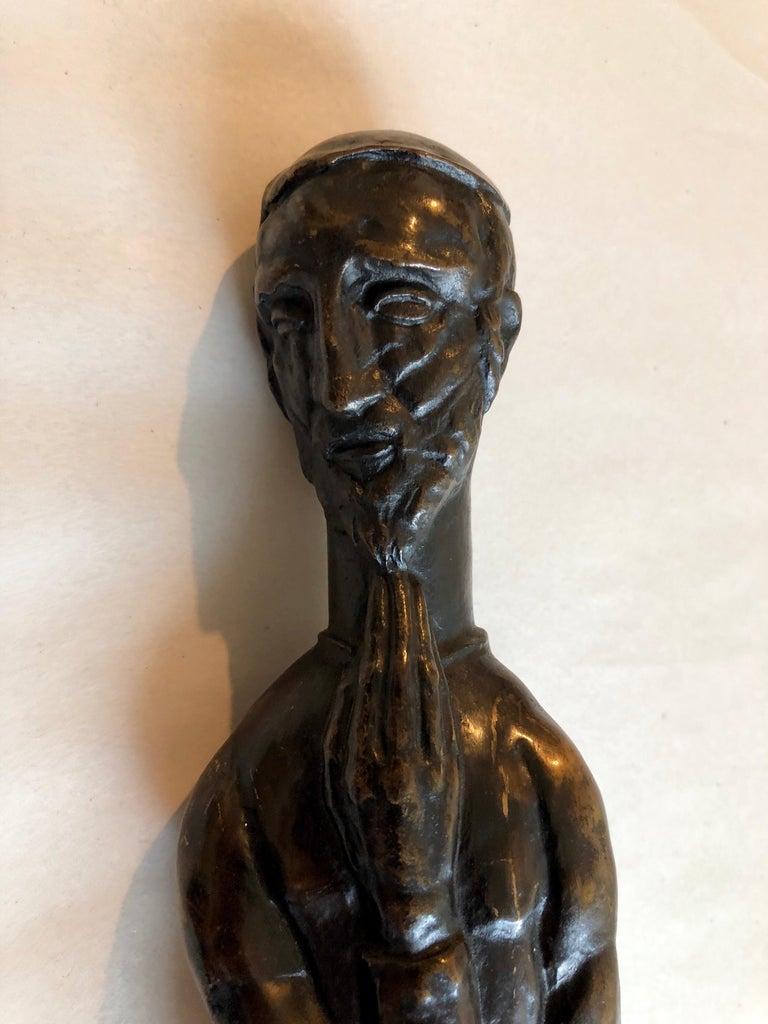 Art Deco Expressionist Bronze Judaica Rabbi Sculpture Los Angeles Modernist For Sale 4