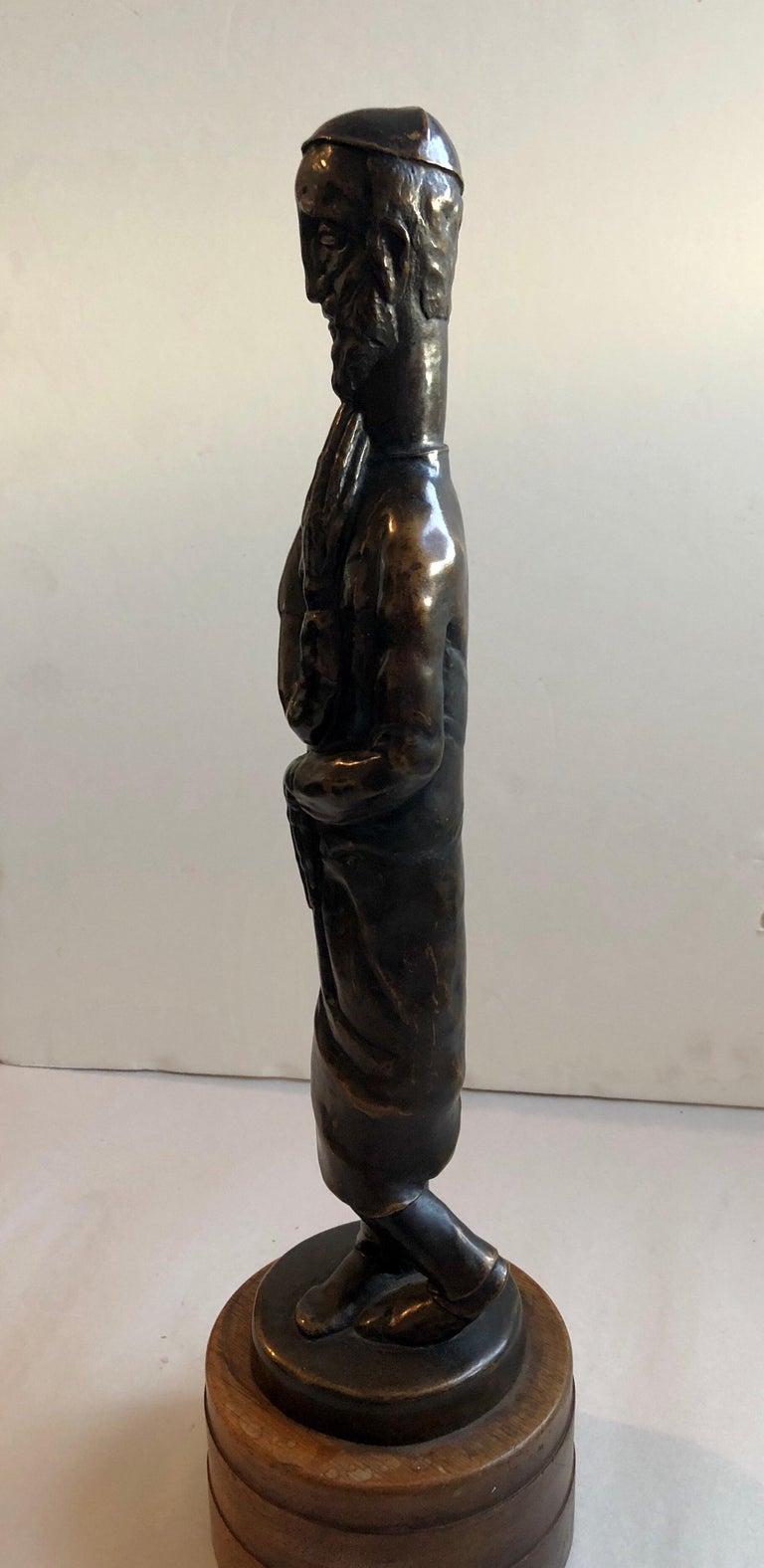 Art Deco Expressionist Bronze Judaica Rabbi Sculpture Los Angeles Modernist For Sale 6