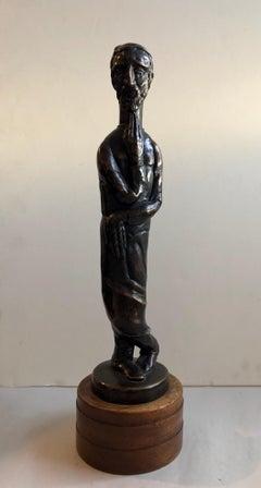 Art Deco Expressionist Bronze Judaica Rabbi Sculpture Los Angeles Modernist