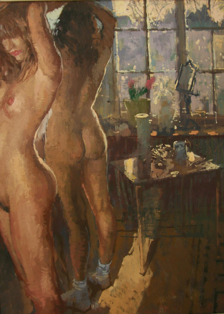 FIRST OF THE MORNING SUN.PETER KUHFELD NEAC RP 1952 contemporary British Artist - Brown Figurative Painting by Peter Kuhfeld