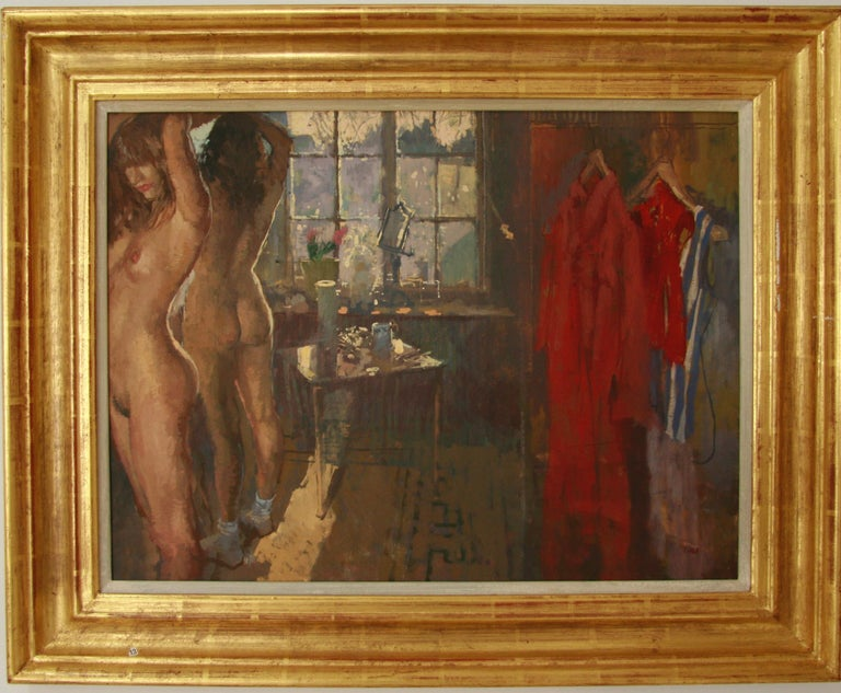 Peter Kuhfeld Figurative Painting - FIRST OF THE MORNING SUN.PETER KUHFELD NEAC RP 1952 contemporary British Artist