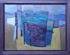 Blue Yellow abstract - British sixties Abstract art oil painting