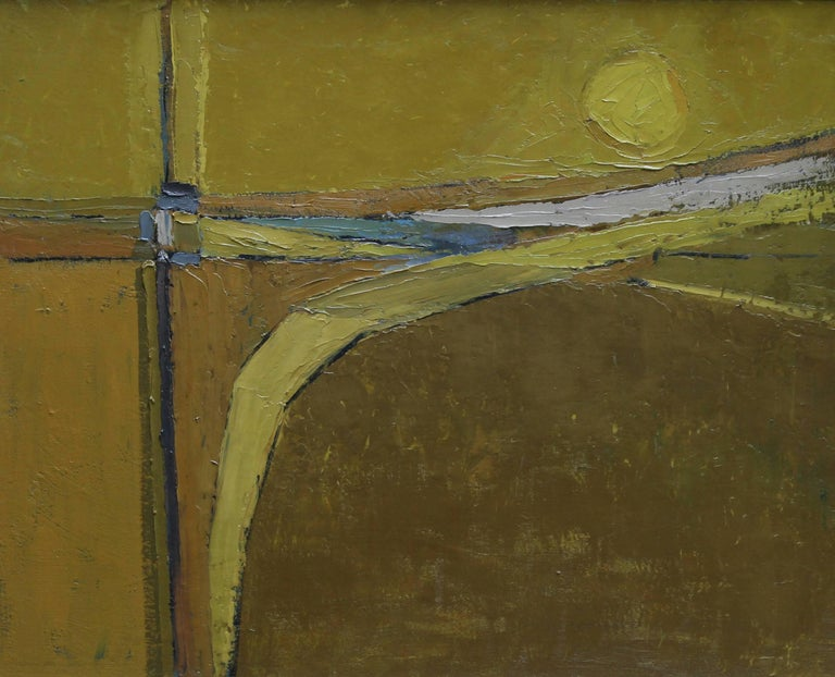 British 50's Abstract Art Landscape - oil painting countryside field sun yellow  - Painting by Peter L. Field