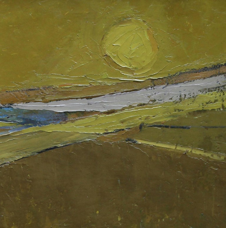 British 50's Abstract Art Landscape - oil painting countryside field sun yellow  - Yellow Abstract Painting by Peter L. Field