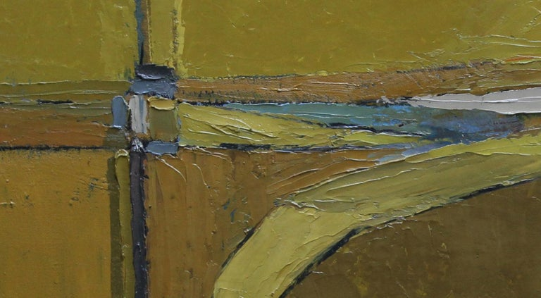An original oil on canvas by listed British artist Peter L Field. It depicts an abstract British landscape in the manner and with influences of the Cornish School and Peter Lanyon. It was painted circa 1958. A rare and visually stunning work by a