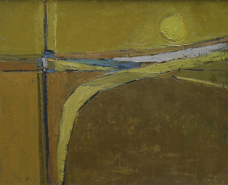 British 50's Abstract Art Landscape - oil painting countryside field sun yellow  For Sale 2