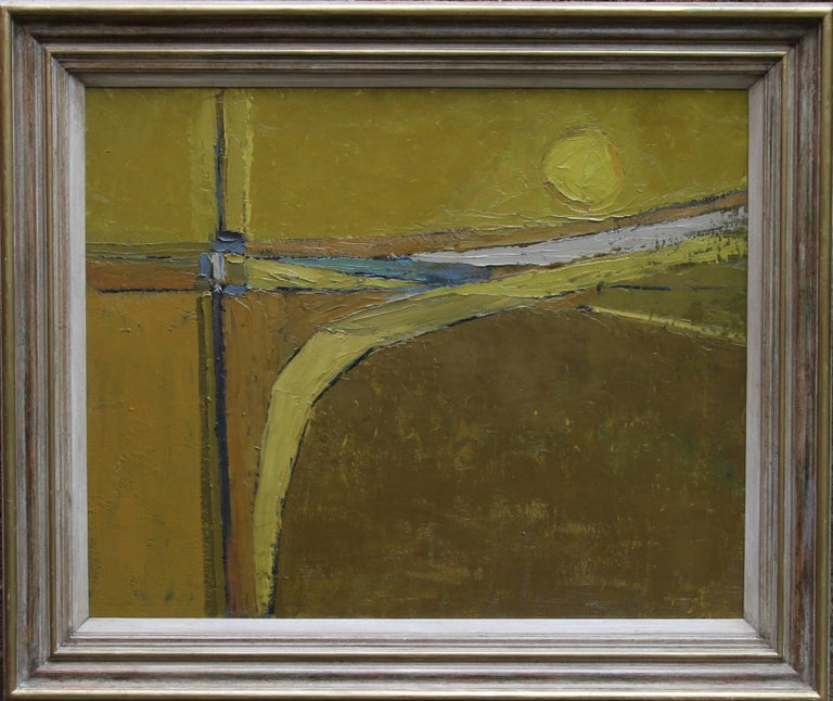 Peter L. Field Abstract Painting - British 50's Abstract Art Landscape - oil painting countryside field sun yellow