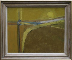 British 50's Abstract Art Landscape - oil painting countryside field sun yellow