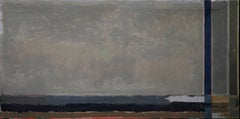 British Abstract Landscape - Fifties art oil painting grey blue brown landscape