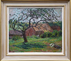 Ducks in a Landscape - British Post Impressionist 1950's art farm oil painting