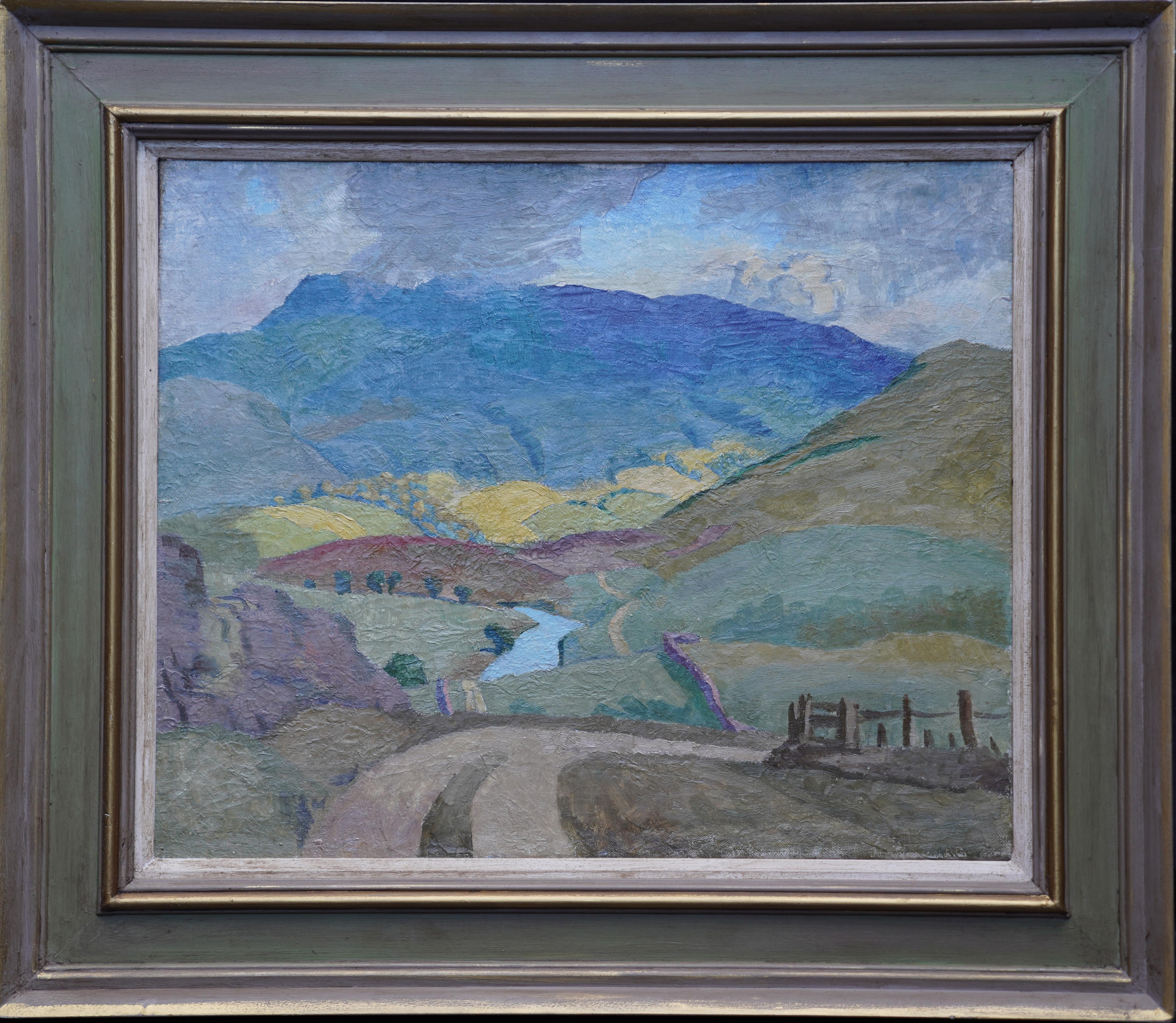 Landscape with River - British Post Impressionist 1950's art oil painting Wales
