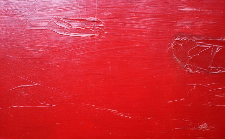 Red Abstract - British 1960 abstract art oil painting  For Sale 1