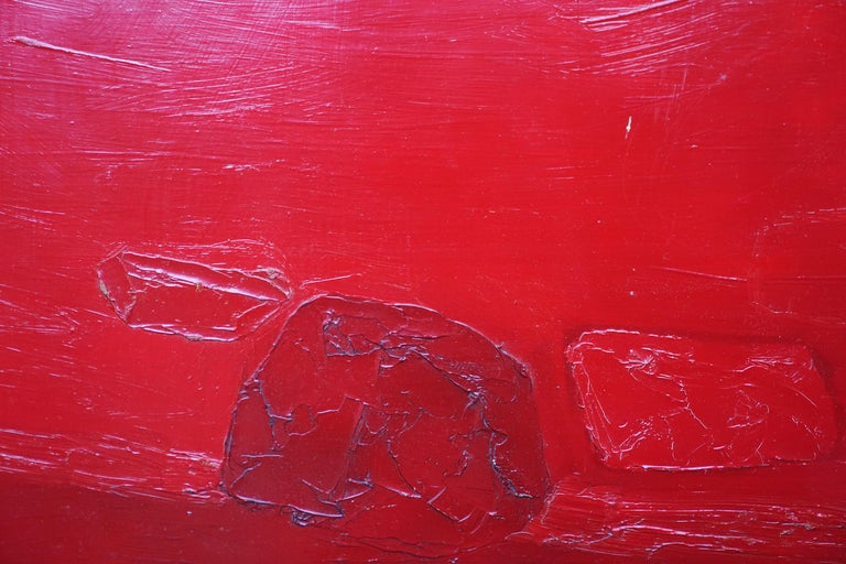 Red Abstract - British 1960 abstract art oil painting  For Sale 2