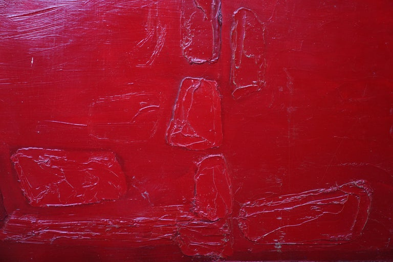 Red Abstract - British 1960 abstract art oil painting  For Sale 3