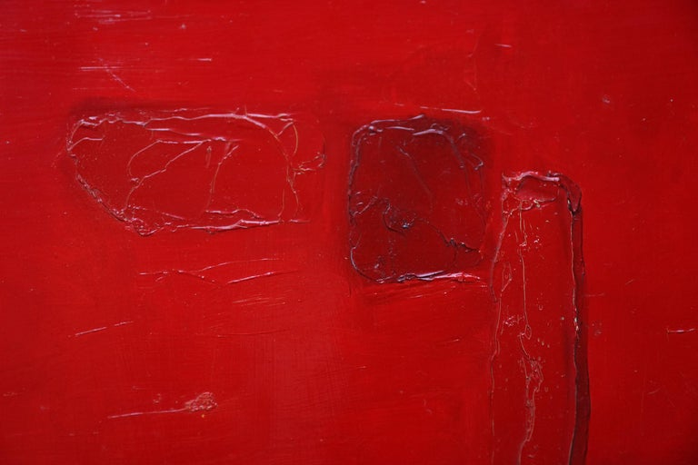 Red Abstract - British 1960 abstract art oil painting  For Sale 5