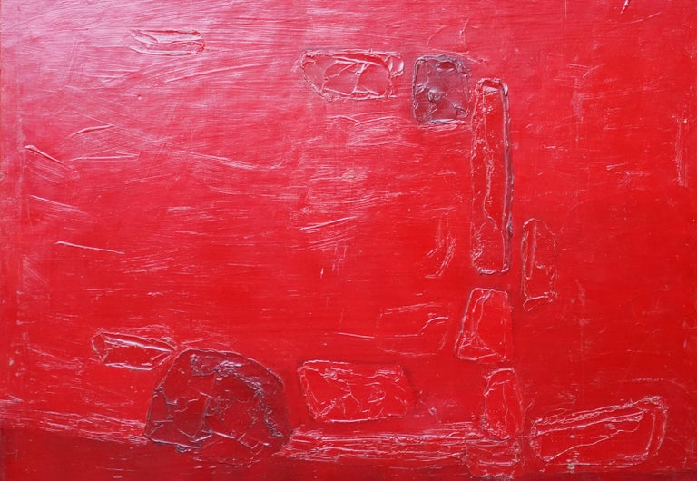 Red Abstract - British 1960 abstract art oil painting  For Sale 6