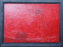 Red Abstract - British 1960 abstract art oil painting