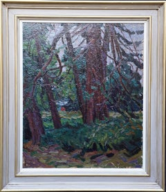 View Through Trees - British Post Impressionist 50's art landscape oil painting