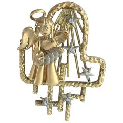 Peter Lindeman 18 Karat Gold and Diamond Angel Brooch and Pendant