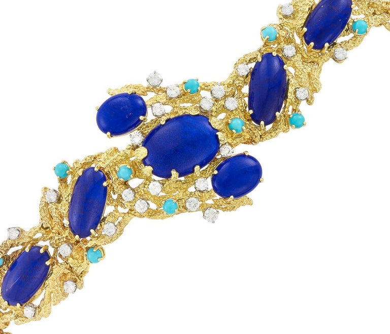 Round Cut Peter Lindeman 18K Gold Vintage Bracelet in Lapis Lazuli, Diamond and Turquoise For Sale