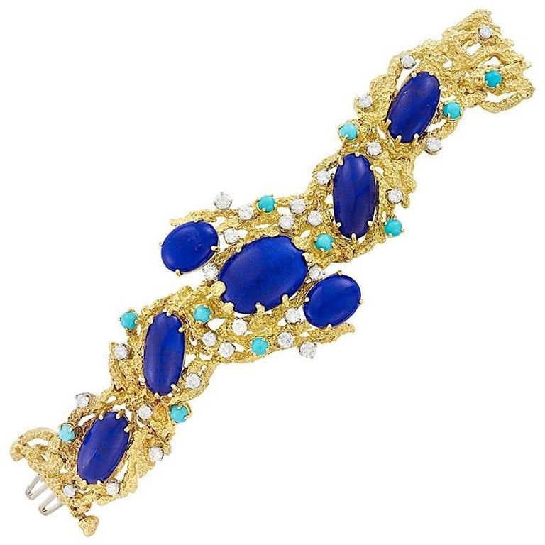 Peter Lindeman 18K Gold Vintage Bracelet in Lapis Lazuli, Diamond and Turquoise In Excellent Condition For Sale In Austin, TX