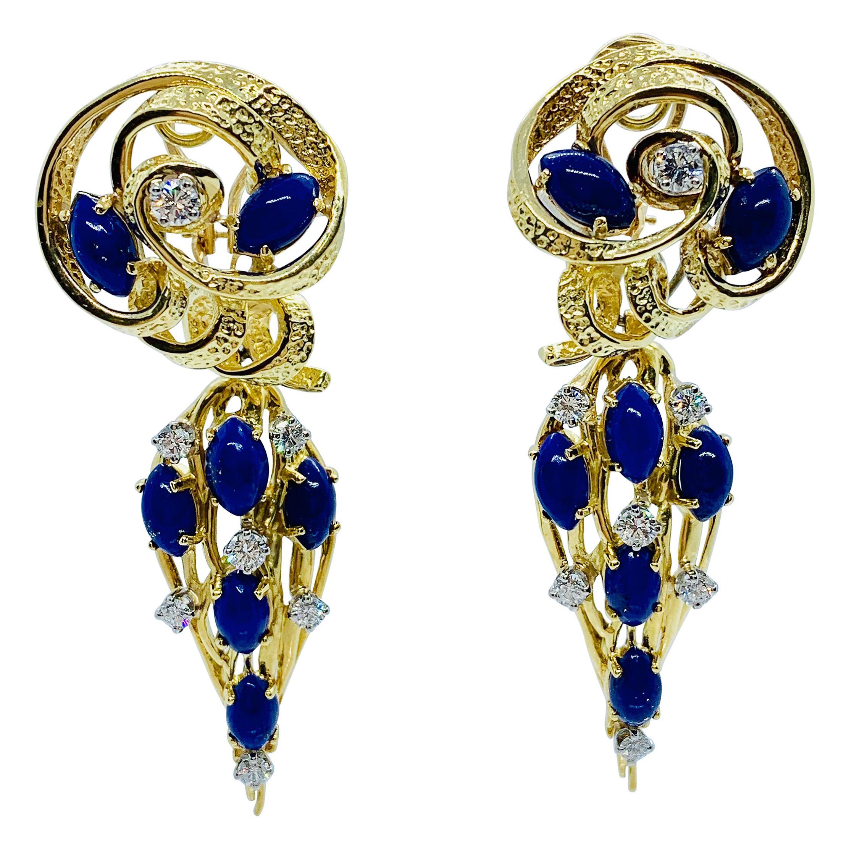 Peter Linderman 18 Karat Yellow Gold, Diamond and Blue Lapis Lazuli Earrings