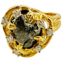 Peter Linderman 18 Karat Yellow Gold, Diamond and Rough Diamond Ladies Ring
