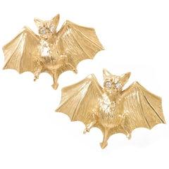 Peter Linderman Yellow Gold and Diamond Bat Cufflinks