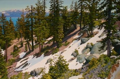 Residual Snow above Tahoe / oil on canvas landscape 44 x 66 inches