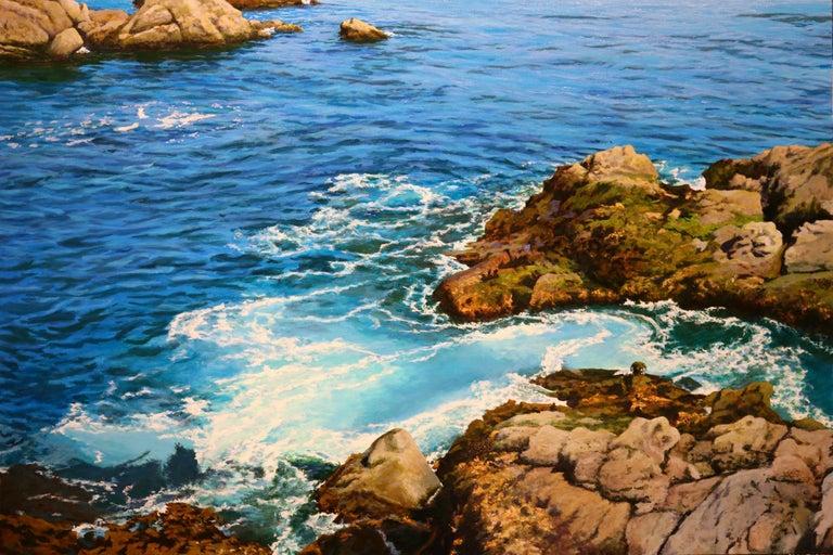 Peter Loftus Seaworld Mendocino Oil On Canvas