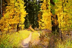 Pathway to Enchantment / oil painting celebrating yellow fall leaves