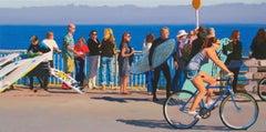Surf Scene with Cyclist / colorful California surf, sail, bike scene