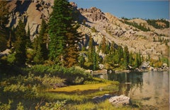 The Shore of Round Lake / realist nature 52x80 in. oil on canvas painting