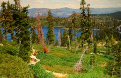 Trail above Silver Lake / realist nature 52x80 in. oil on canvas painting