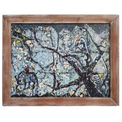 Peter Lowe Abstract Painting, Birds in Tree