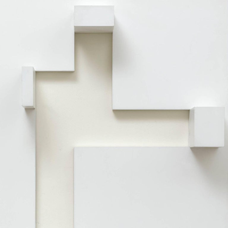 White relief 2 - Brown Abstract Sculpture by Peter Lowe