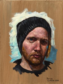 Ben - Original Oil Painting Portrait of the Artist's Brother in a Beanie Cap