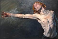 Castles, Nude Figure Reaching, Original Oil Painting, Framed, by Peter Lupkin