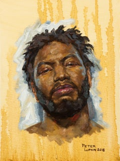 Darryl, Portrait of a Boxer with a Yellow Background, Original Oil on Canvas