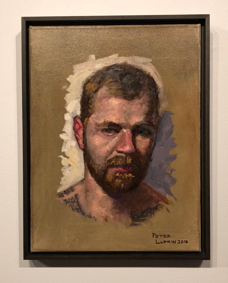 Doug, Male Figure with Tattoos, Full Beard and Mustache, Oil on Canvas, Framed 2
