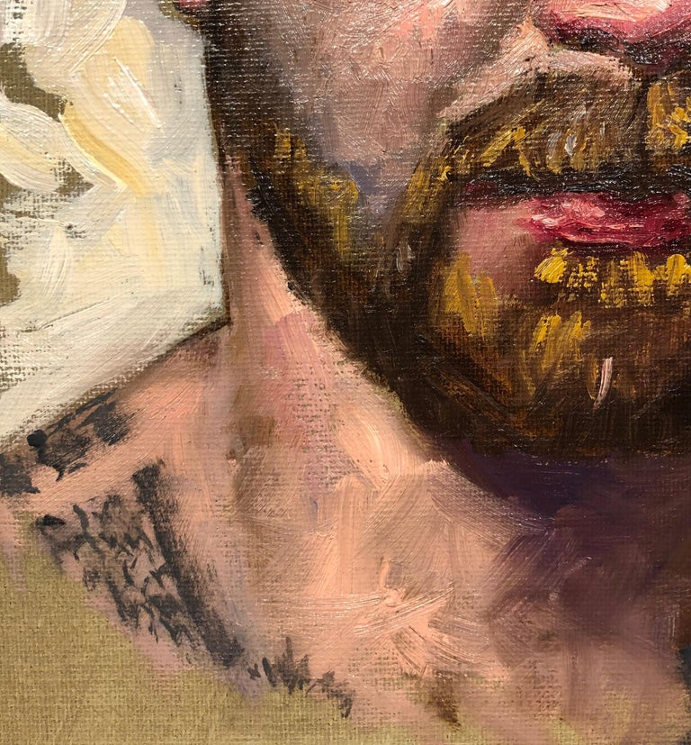 Doug, Male Figure with Tattoos, Full Beard and Mustache, Oil on Canvas, Framed 3